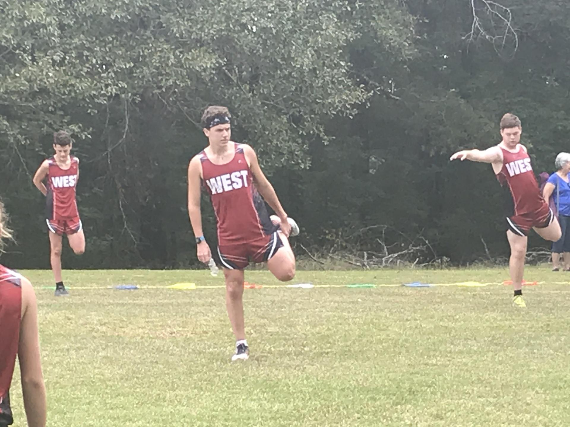 WLHS Cross Country Team Stretching