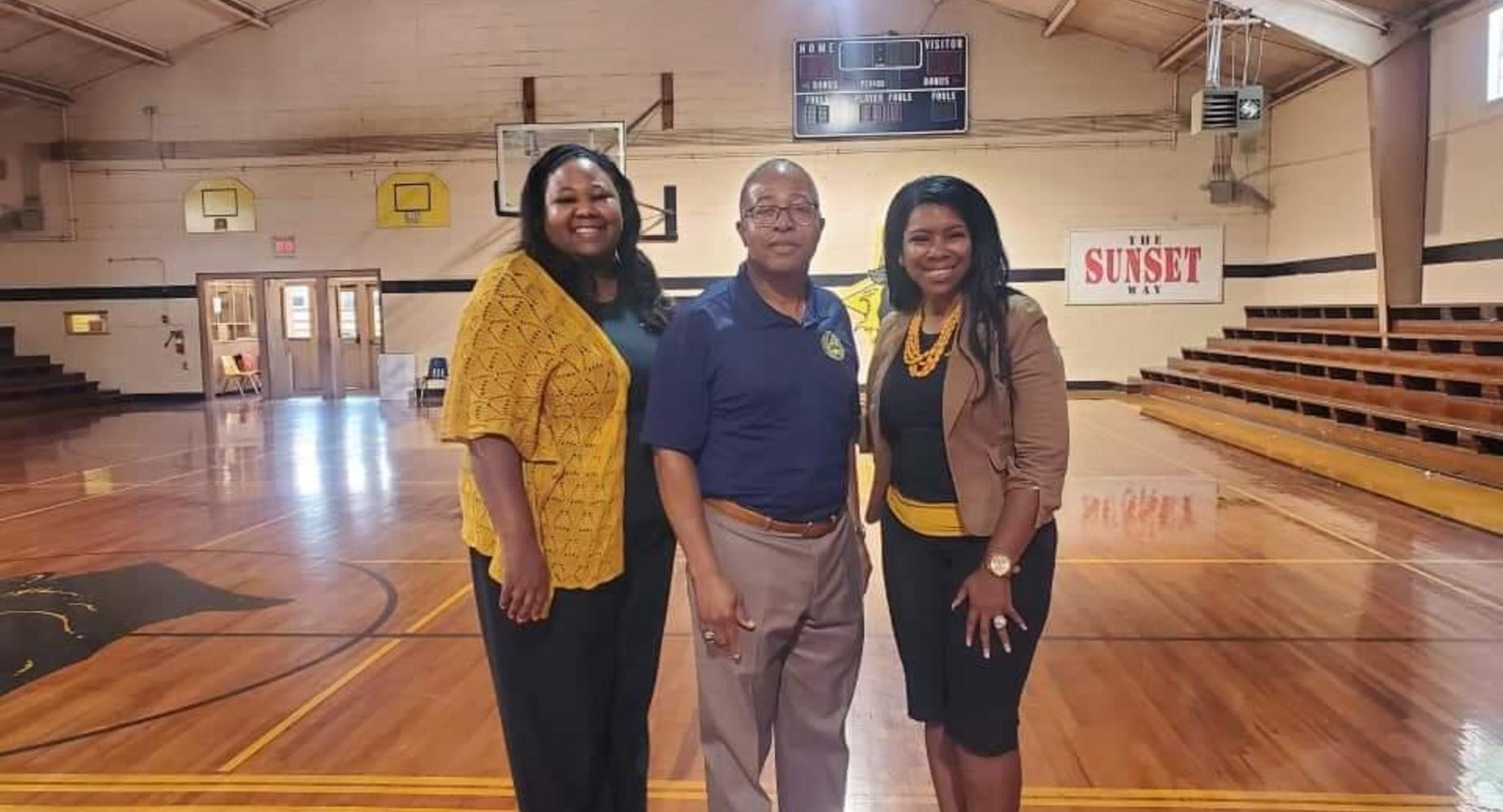 Principal Marquet S. Rideau, Superintendent Patrick Jenkins, and Assistant Principal Sherika Simon