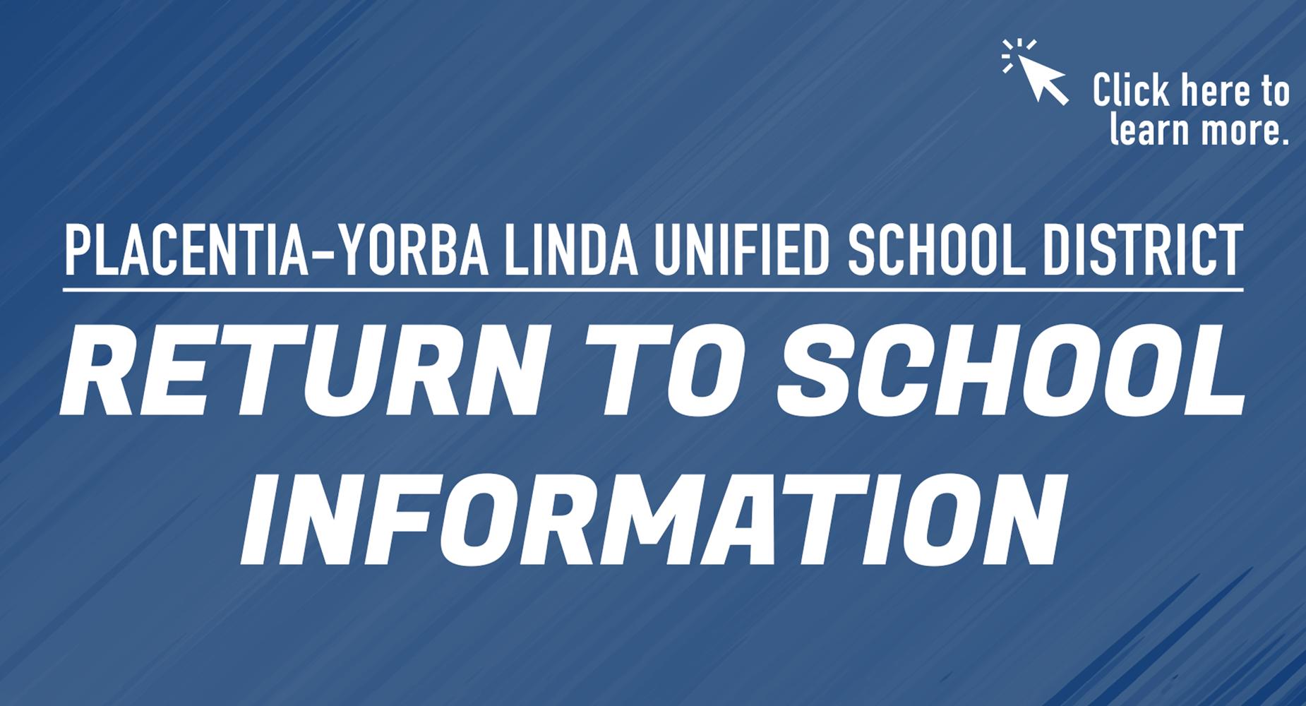 Return to School information.