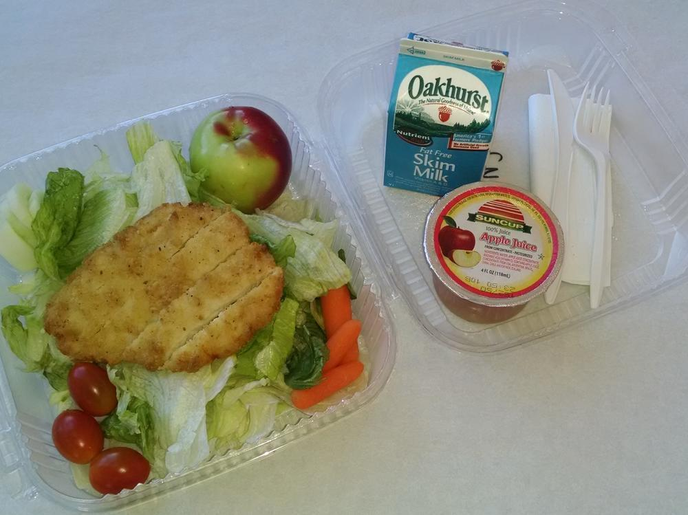 Grab & Go Salad with Chicken Breast Patty, Apple, 100% Juice and Milk