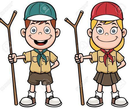 clipart of a boy and a girl scout