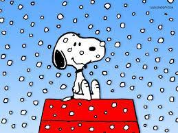 Snoopy with snow.