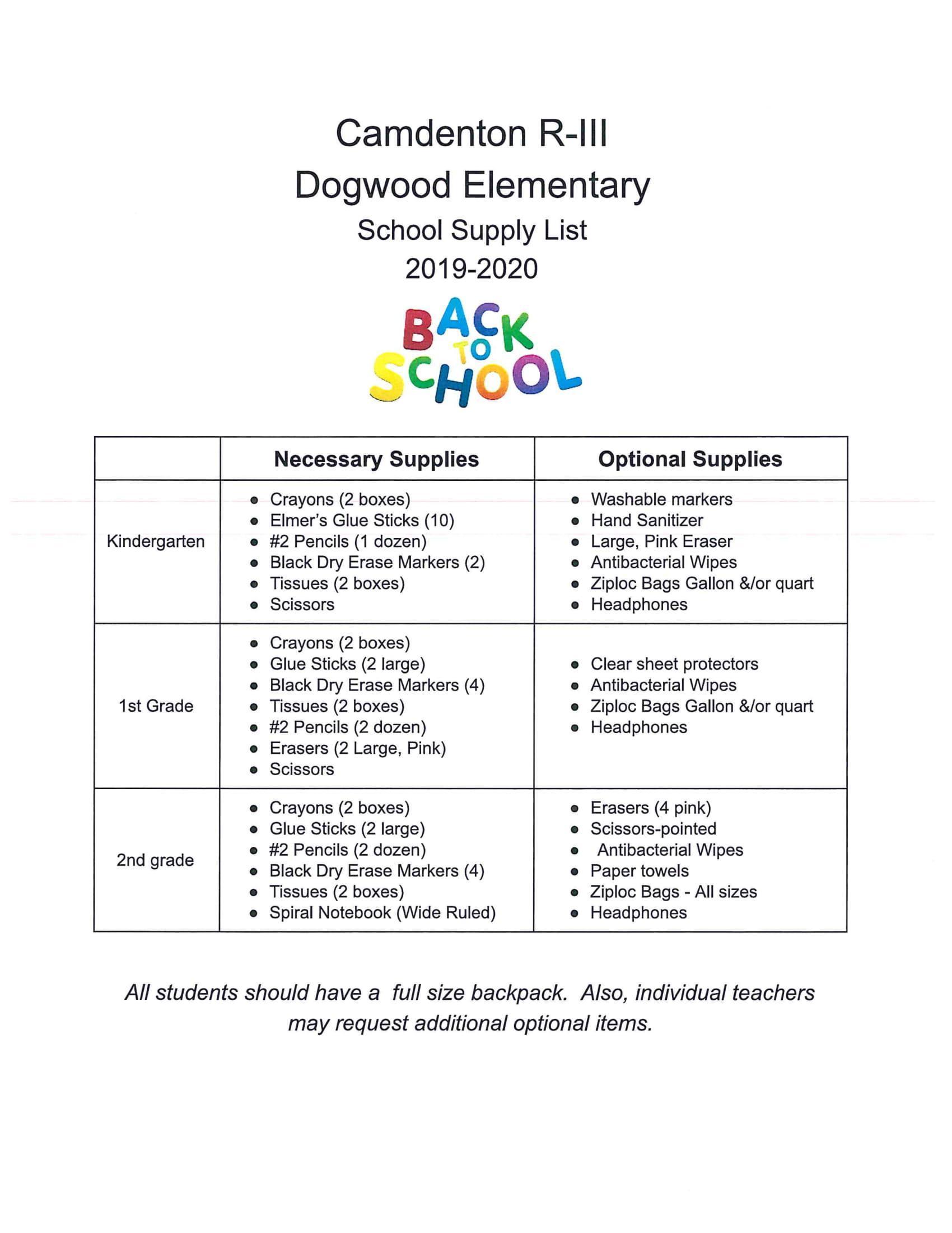 Dogwood Elementary – Supply Lists – Camdenton R-3 School