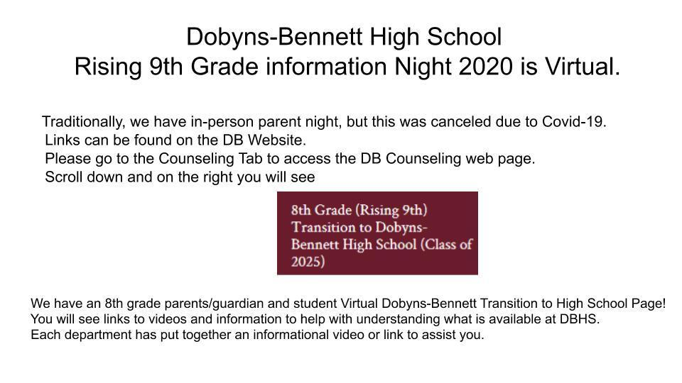 DB Parent Night is completely virtual. Please check the DB website for more information.