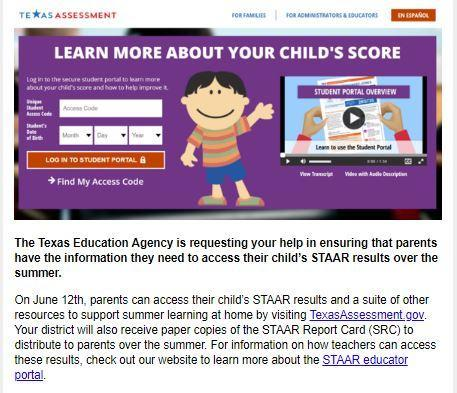 Parent Access to STAAR Student Portal Featured Photo