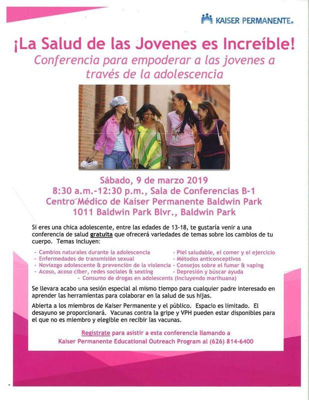 Si eres una chica adolescente, entre las edades de 13-18, te gustaria venir a una conferencia de salud gratuita que ofrecera variedades de temas sobre los cambios de tu cuerpo.