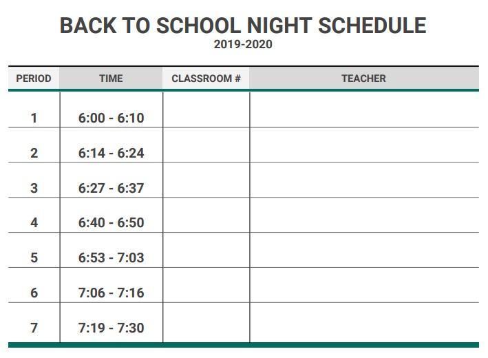 Back to School Schedule