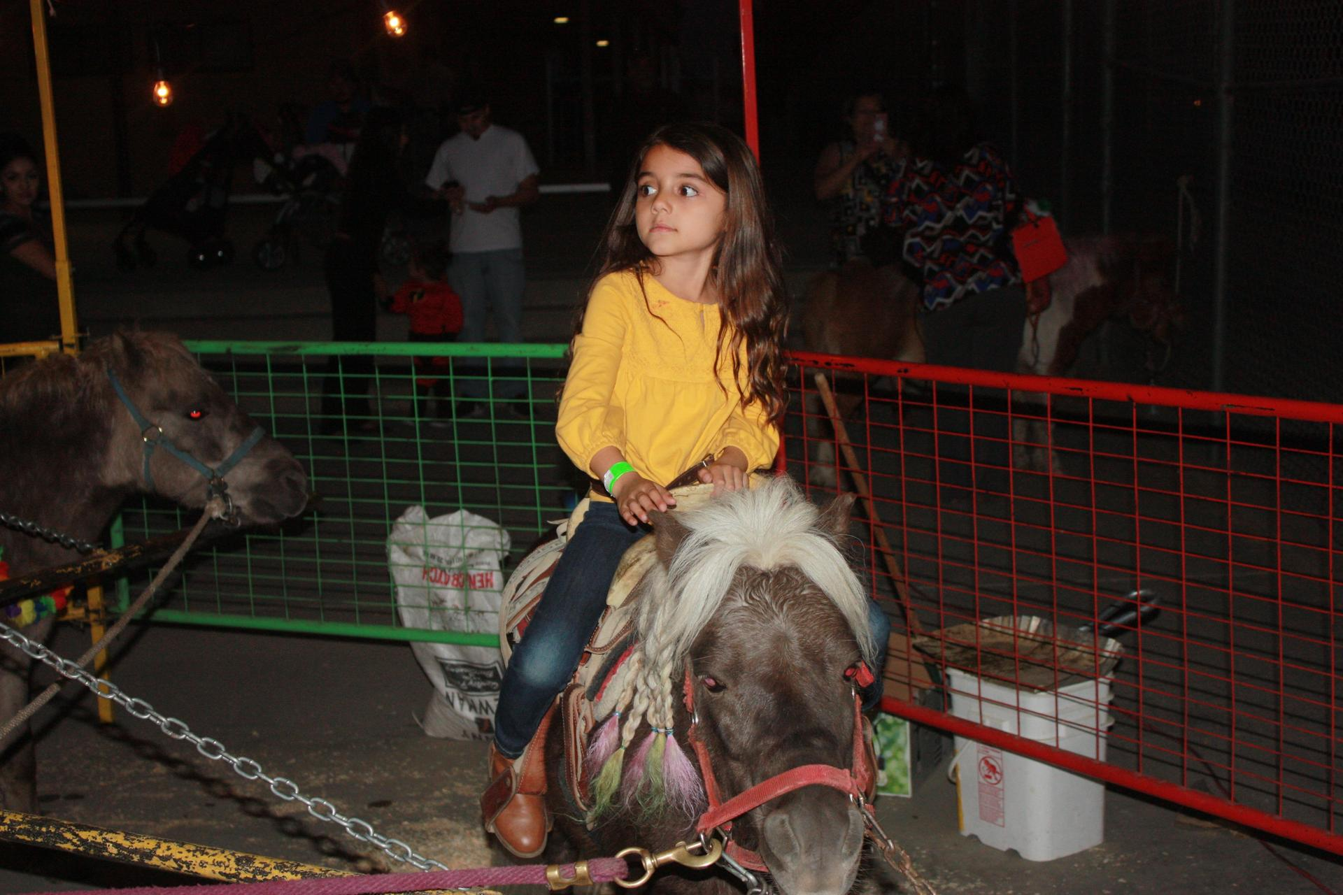 Student on a pony ride at the Harvest Festival