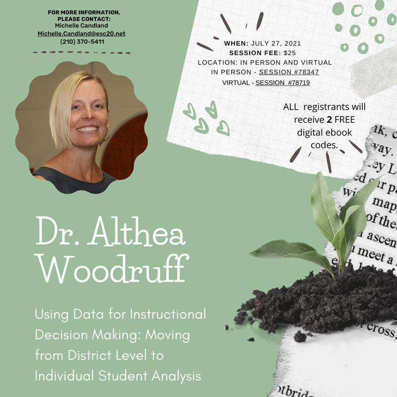 Dr. Althea Woodruff, Using Data for Instructional Decision Making, July 27, Register Now!