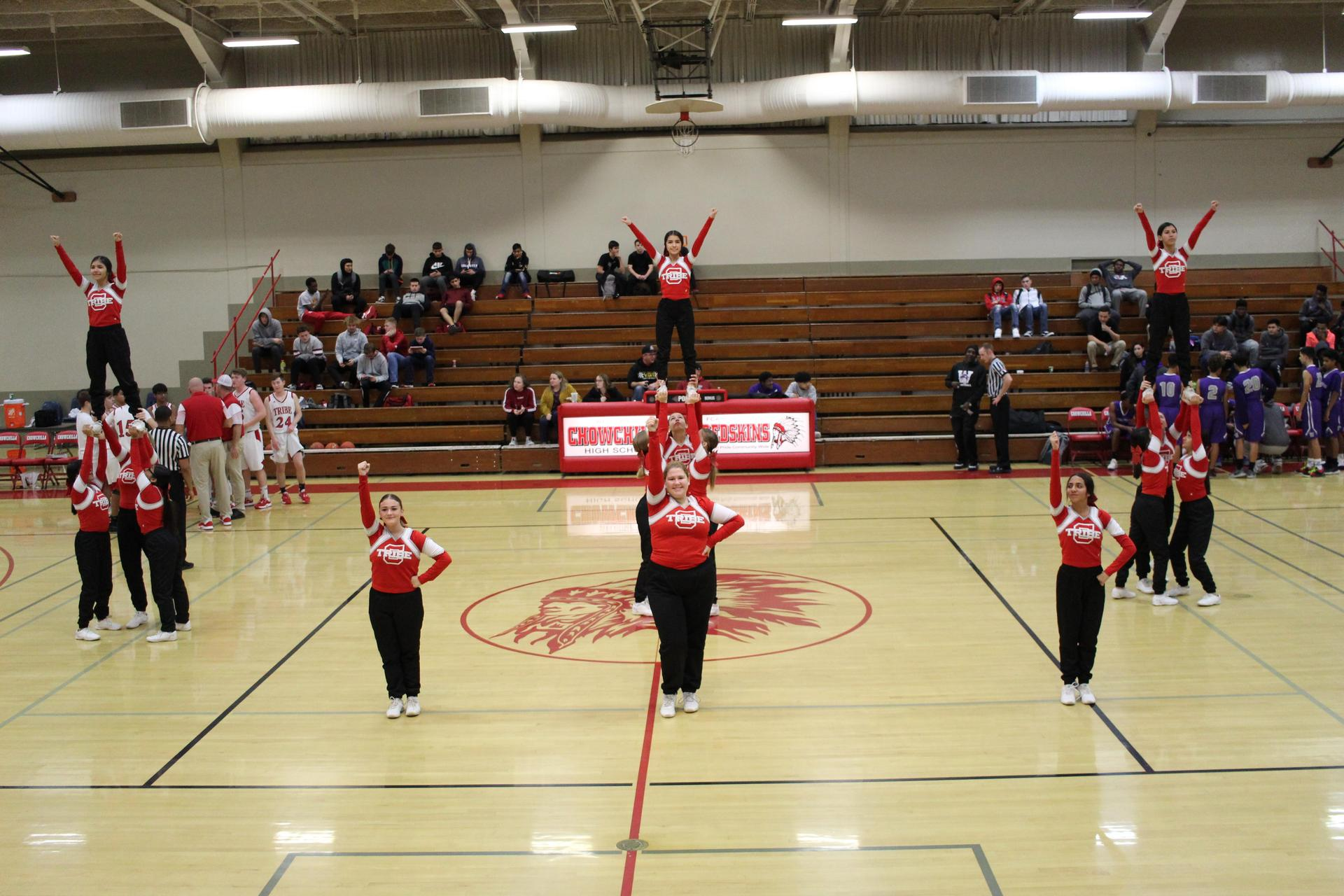 Jv Cheer cheering for Jv boys basketball
