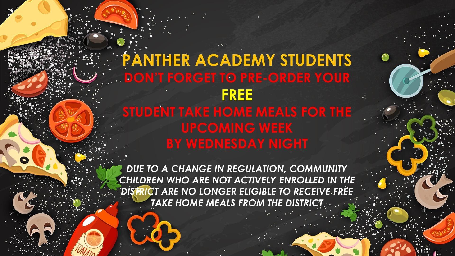 Panther Academy Take Home Meals Reminder Slide