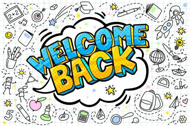 The words welcome back in a speech bubble with icons of school supplies surrounding.