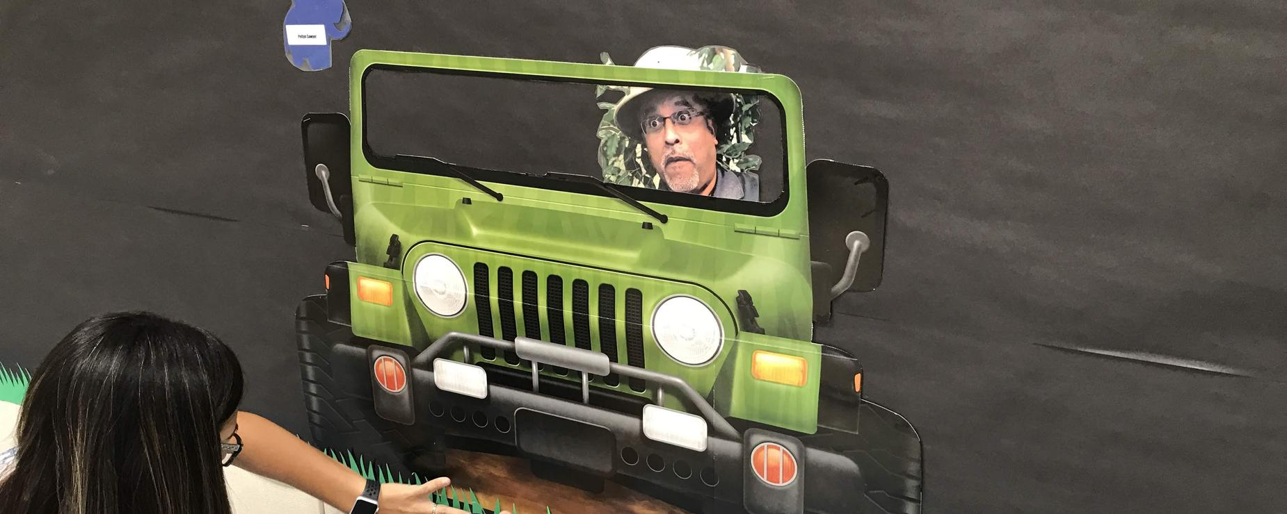 Mr. Z in jeep, funny expression