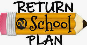 yellow pencil on a white background with the words return to school plan