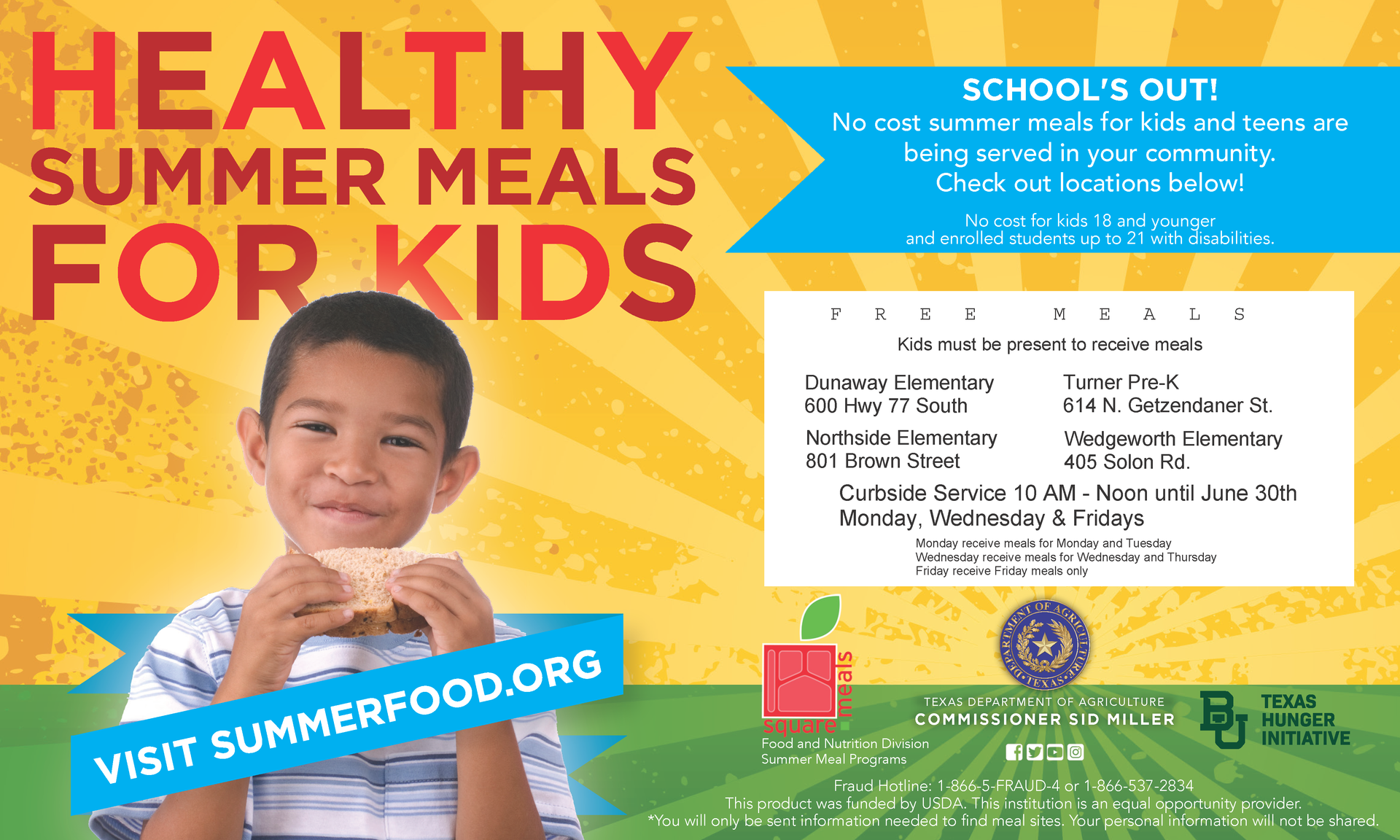 summer meals graphic with dates locations and times