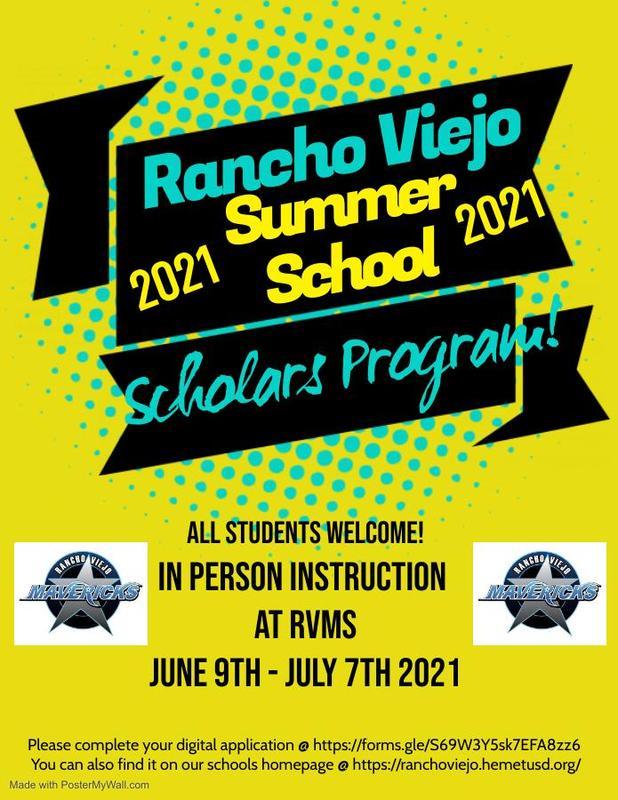 Rancho Viejo Summer School Flier
