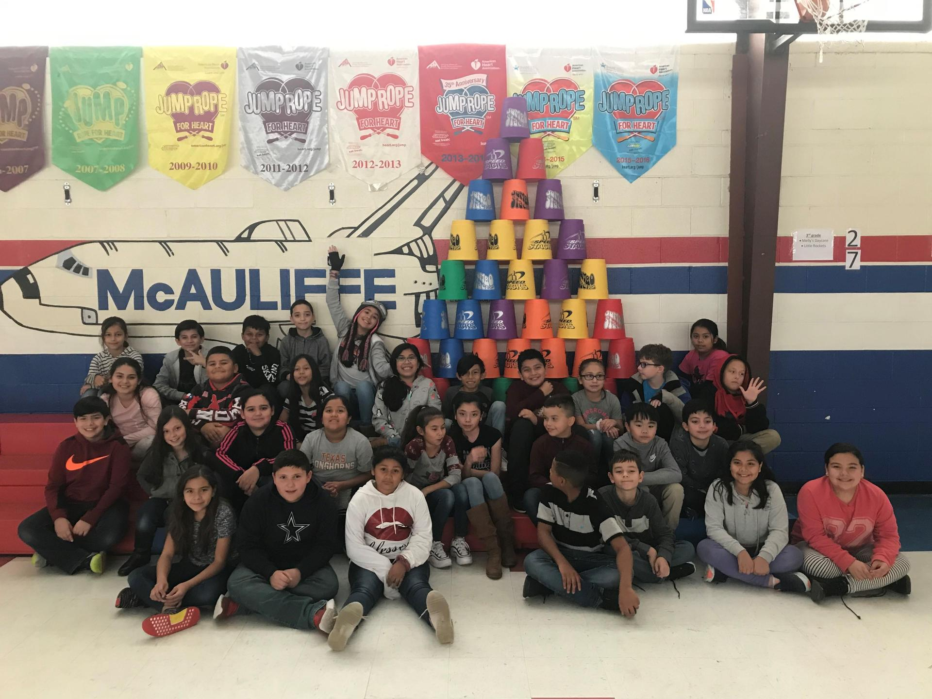 McAuliffe Elementary Cupstacking Fun