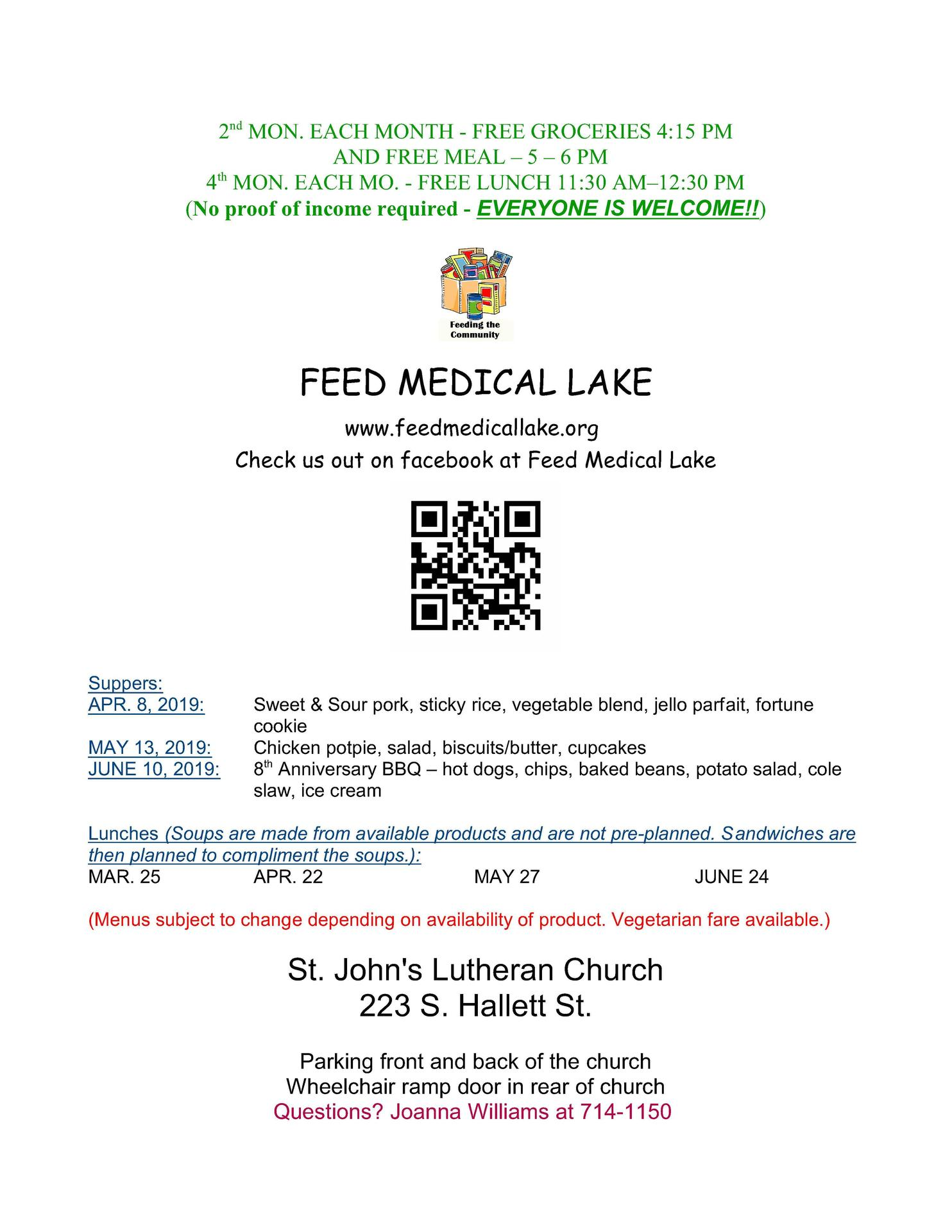 Feed Medical Lake Flyer April 8 through June 11