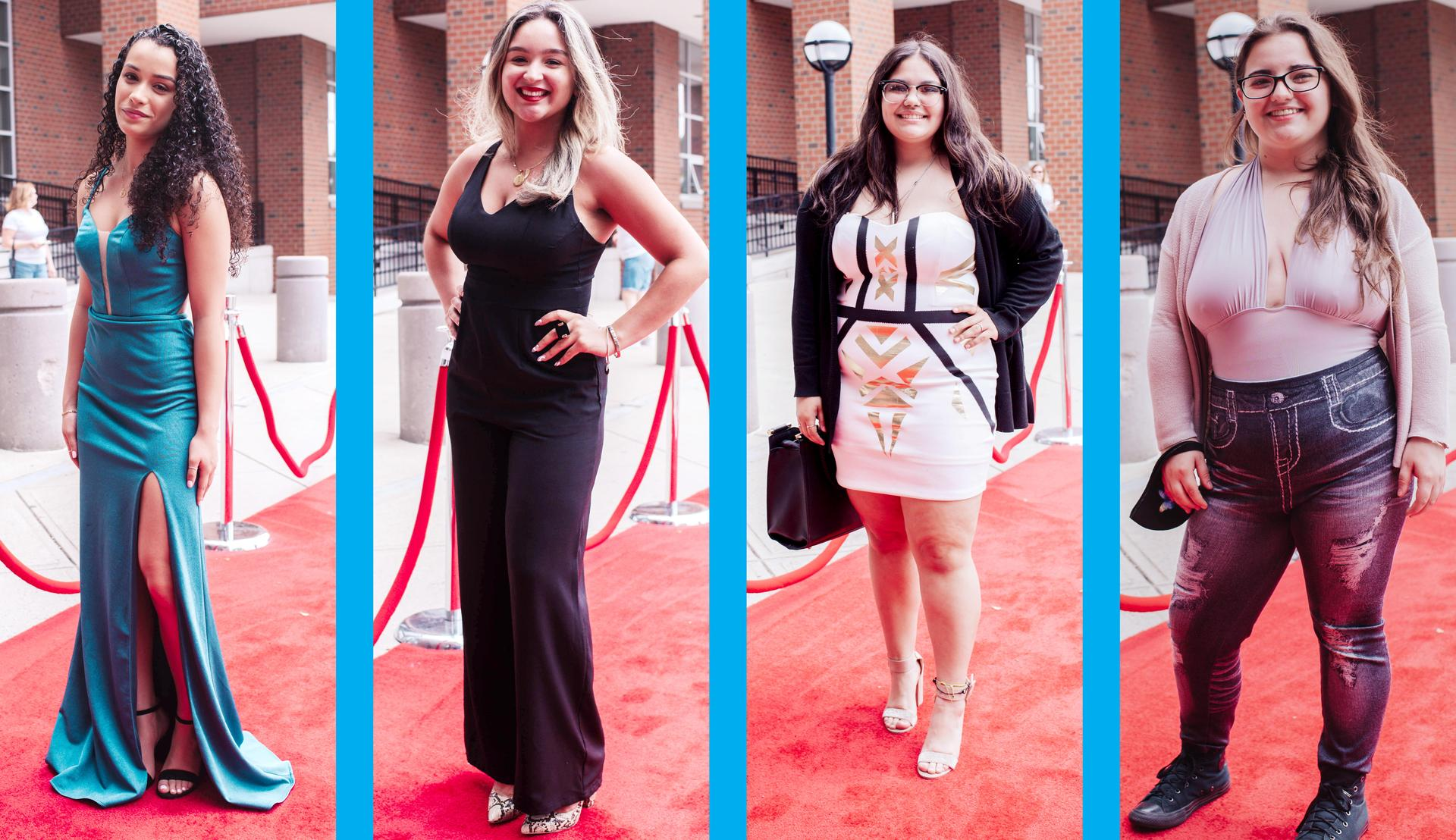 Four-tile photo, seniors arriving at the Red Carpet Extravaganza