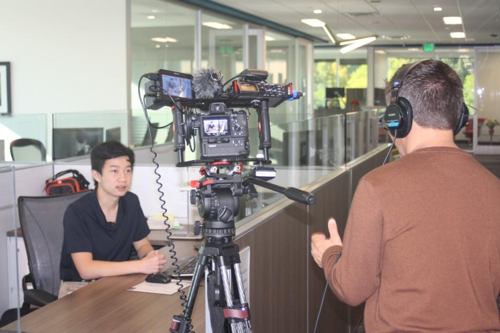 DCSD shoots a video about our Career Discovery Program, following Adrian Feliciano in his apprenticeship program at EKS&H.