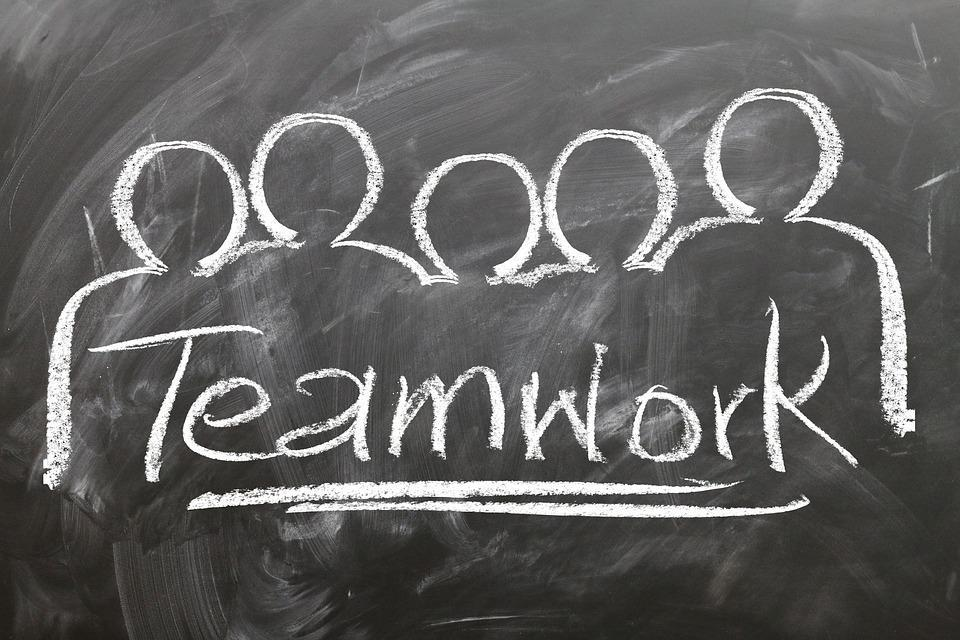 The word teamwork written on a blackboard