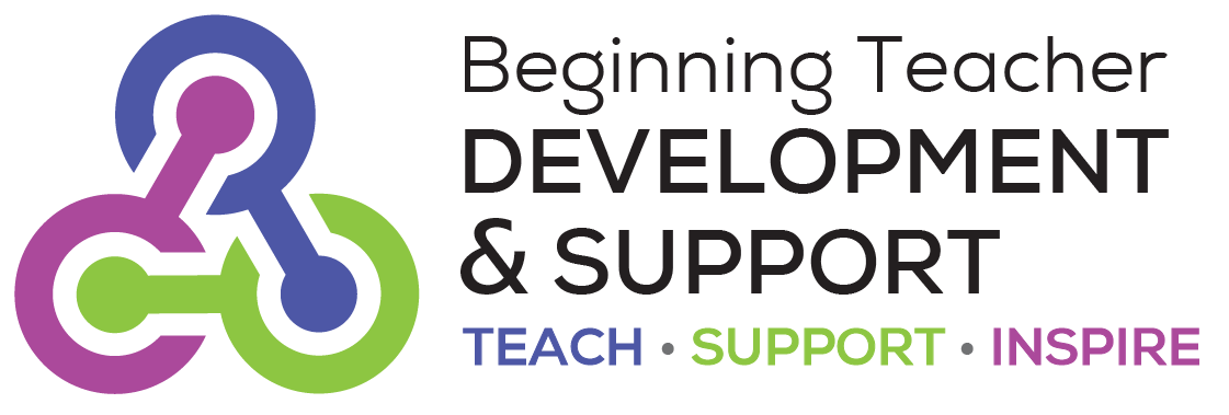 Logo with 3 circles linked together and wording Beginning Teacher Development and Support