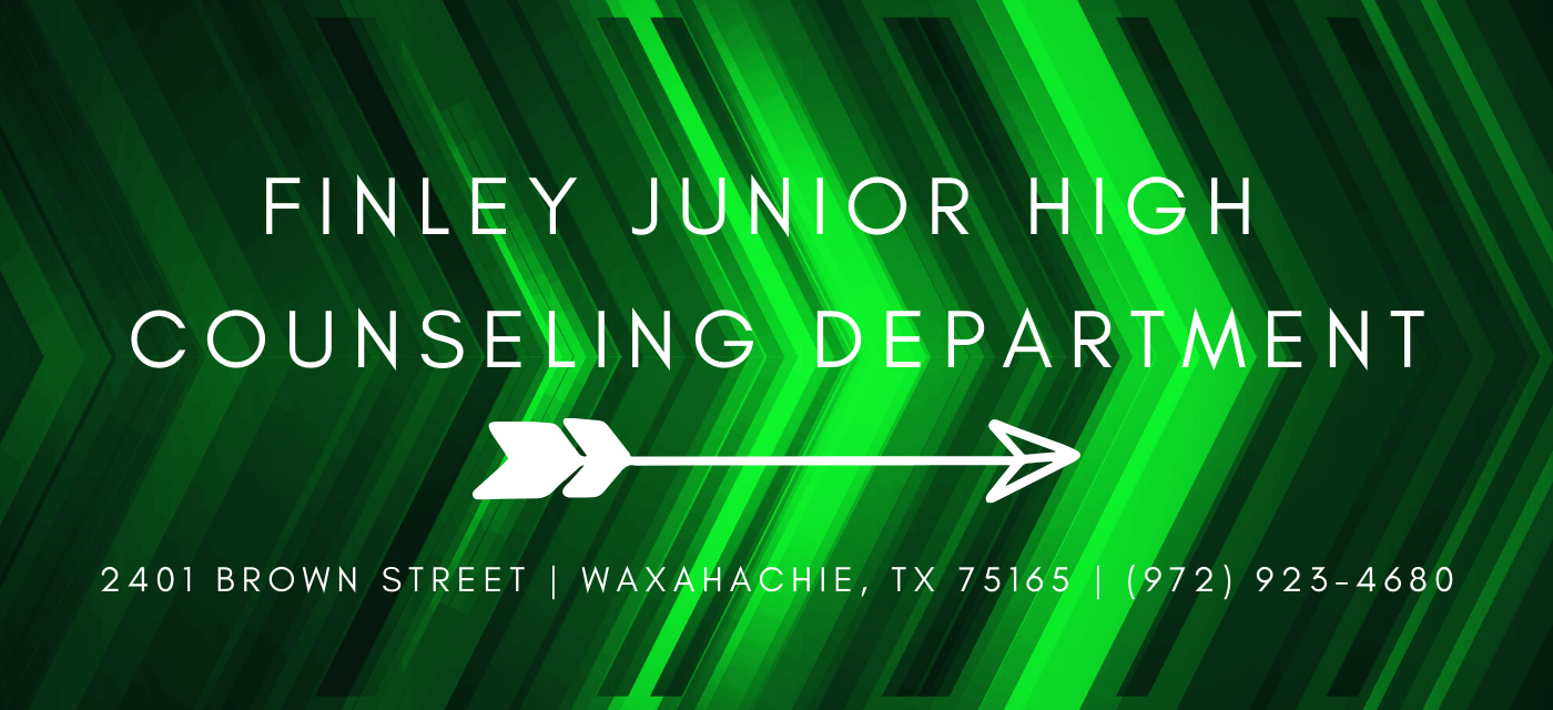 green graphic with finley counseling office address and phone number