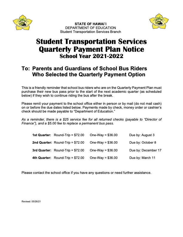 QUARTERLY BUS PAYMENT SCHEDULE