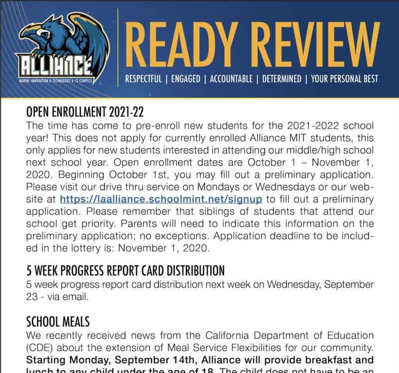 READY Review:  September 21 - 25, 2020 Thumbnail Image