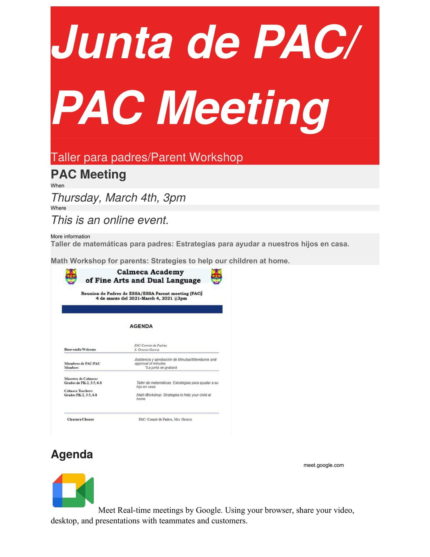 PAC Meeting March 4, 2021