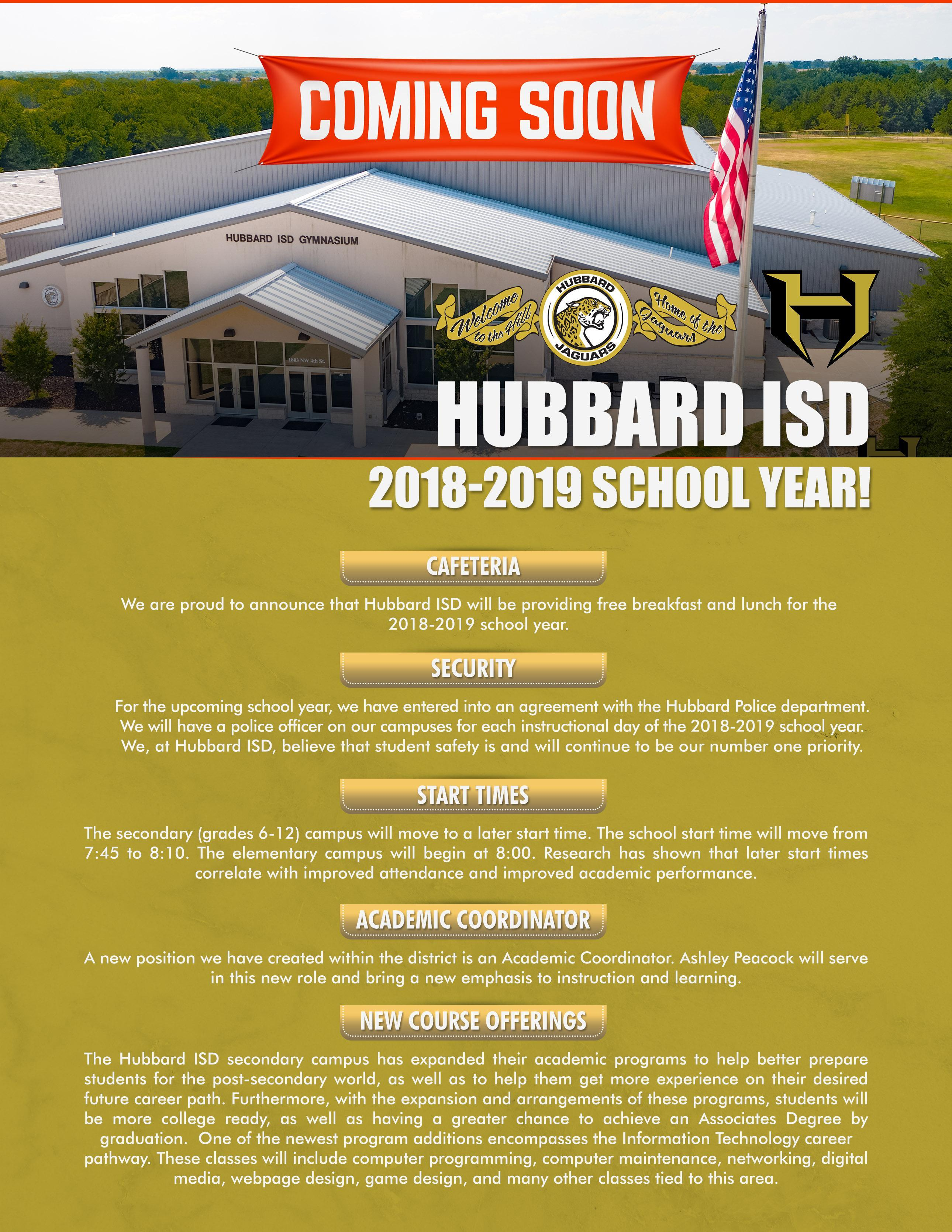 2018-2019 Changes to Hubbard ISD - Page 1