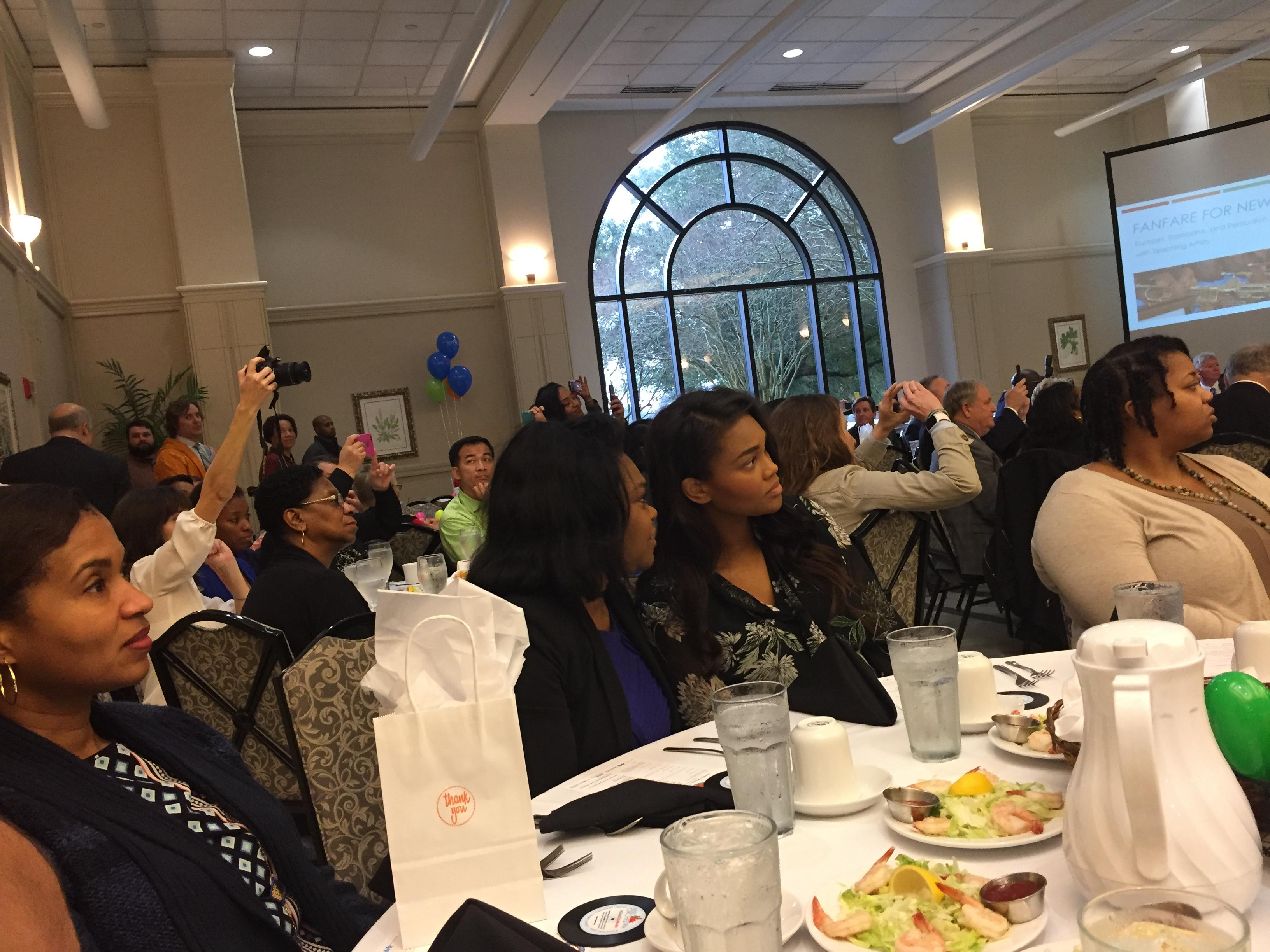 a photo of some members of the city of baker school system leadership cabinet in attendance at the Kids' Orchestra annual breakfast