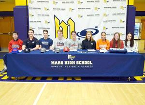 Mars Area High School seniors Andrew Recchia(basketball), William Bednar (baseball), Gavin Honeycutt (lacrosse), Nathan Smith (lacrosse), Michael Doyle (lacrosse), Amelia Haley (tennis), Tai Johnson (basketball), Erica Wojcikiewicz (tennis), and Rachel Scherer (golf) have all signed letters of intent to continue their sports careers at the college level.
