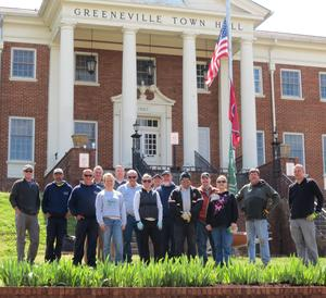 Employees in front of Town Hall