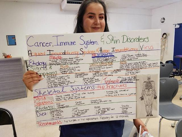CNA student displaying posterboard about diseases for class project
