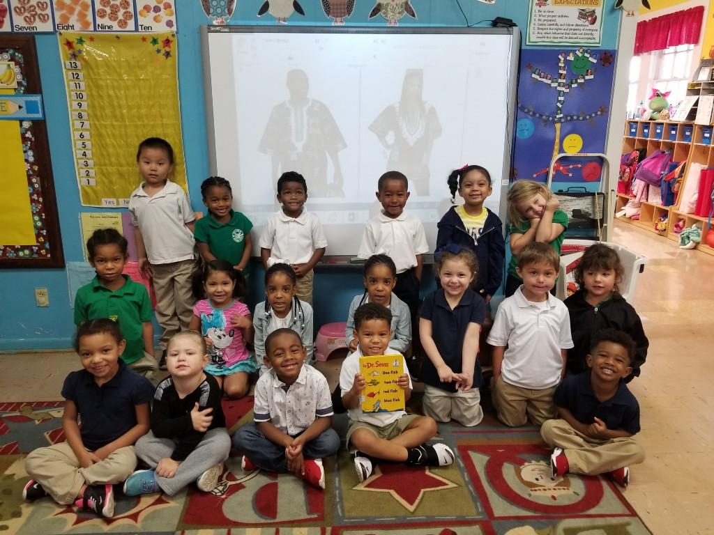 For International Literacy Day, Mrs. Lavergne's Pre-K Class enjoyed listening to One Fish Two Fish Red Fish Blue Fish by Dr. Seuss read in Jamaican Patois Style.  They also got to see pictures of people dressed in Jamaican clothes.