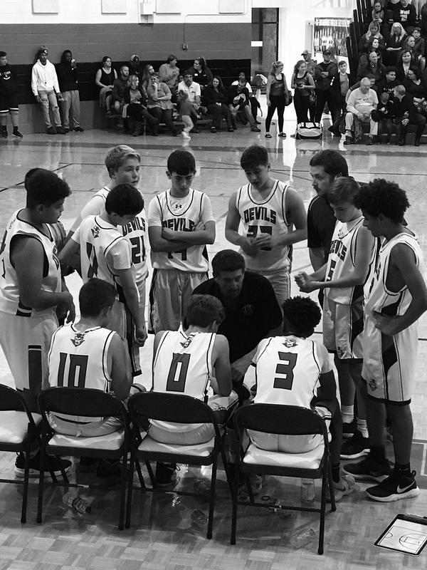 A picture of a basketball coach talking to his team