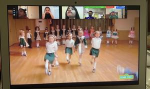 Zoom class watching Irish dancing