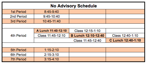 No Advisory Schedule