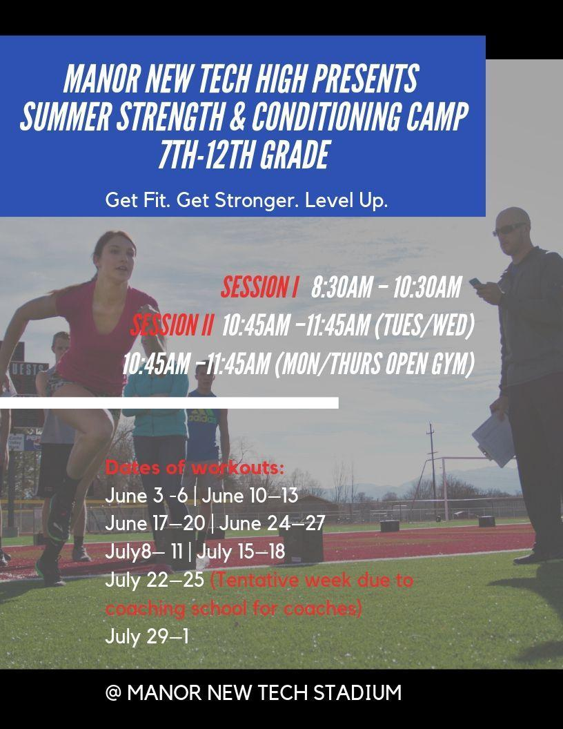 Strength and Conditioning camp flyer with the background of athletes working out on the football field.