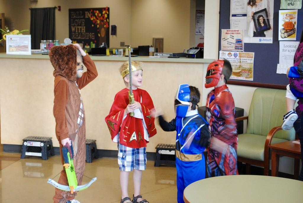 Students enjoying each others costumes