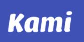 Kami logo, white text, blue background