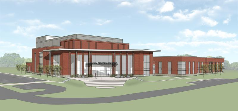 Rendering of Lexington Two's planned performing arts center. The district office will move into the center, a cost-saving measure that will allow the space to be continuously occupied.  (Credit Jumper Carter Sease)