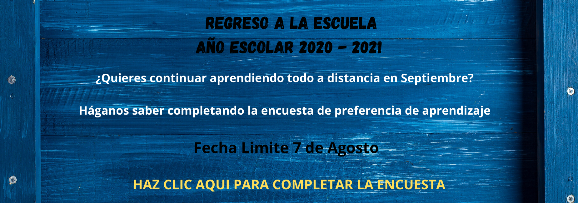 Return to School Survey Message and Link Spanish