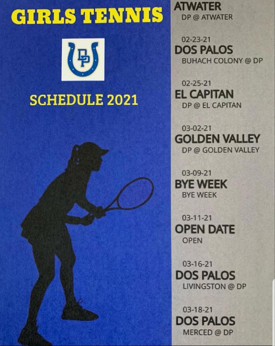 2021 Girls Tennis Schedule