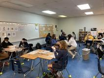 Mrs. Hill's class building houses from a short story