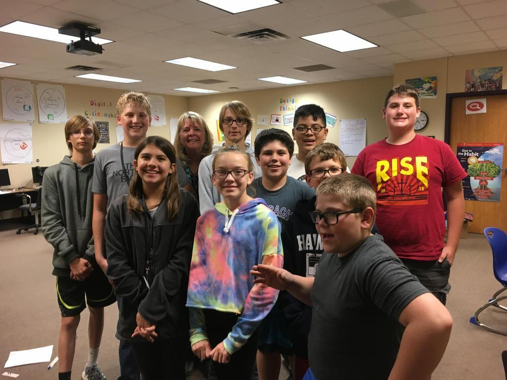 Our GMS Robotics team!  We were so excited to have Carter Whitfield and Andrew Miller stop by!