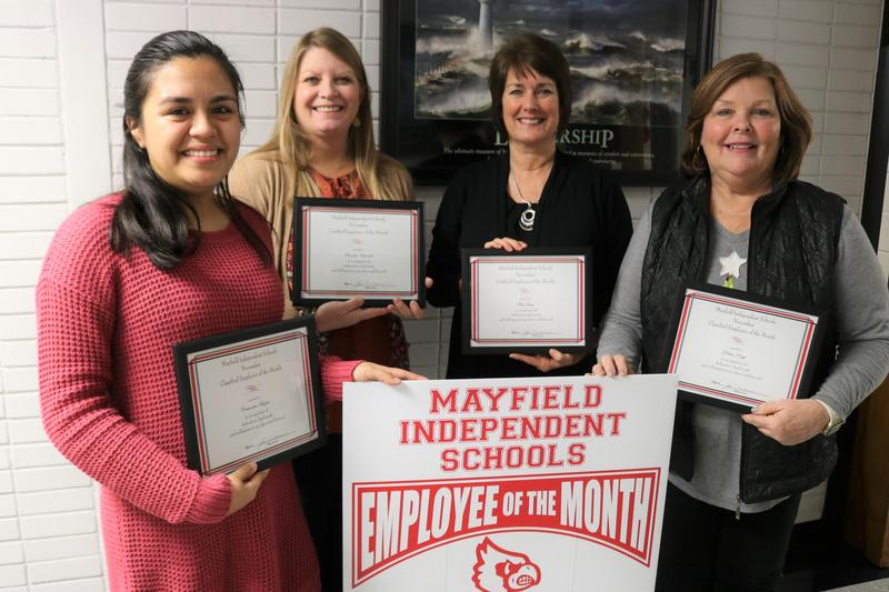 Cassandra Huizar, Amanda Edwards, Mitzi Guhy, and Debbie Klapp are pictured together as Mayfield Independent's Employees of the Month for November 2019.