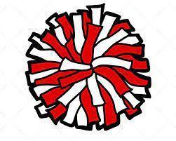 red and white pom pom
