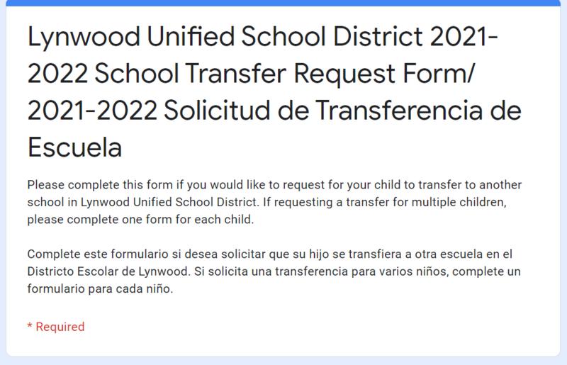 6th Grade 2021-2022 School Transfer Form/2021-2022 Solicitud para Transferir de Escuela para estudiantes de 6to grado Featured Photo